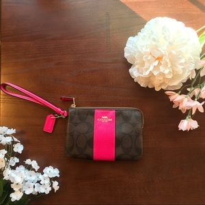 Coach Wristlet Pink and Brown Never Been Used